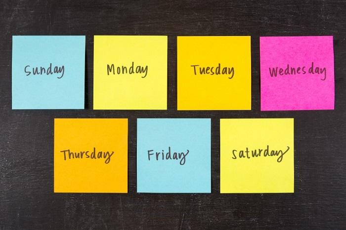 các ngày trong tuần bằng tiếng anh
