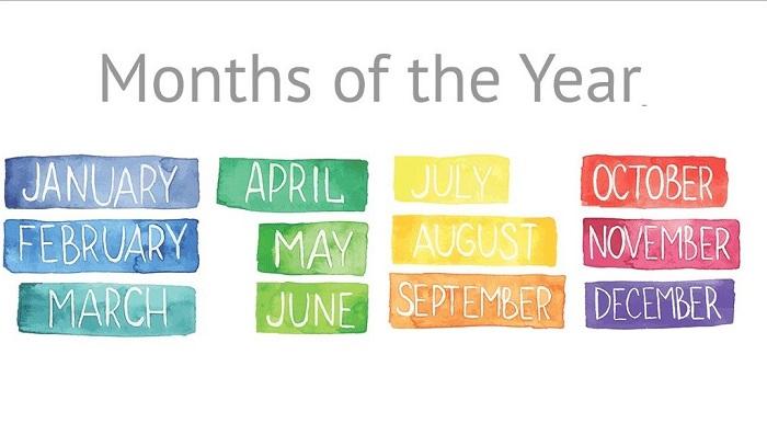 các tháng trong năm bằng tiếng anh