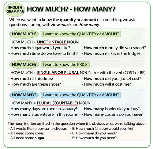 cách dùng how much và how many